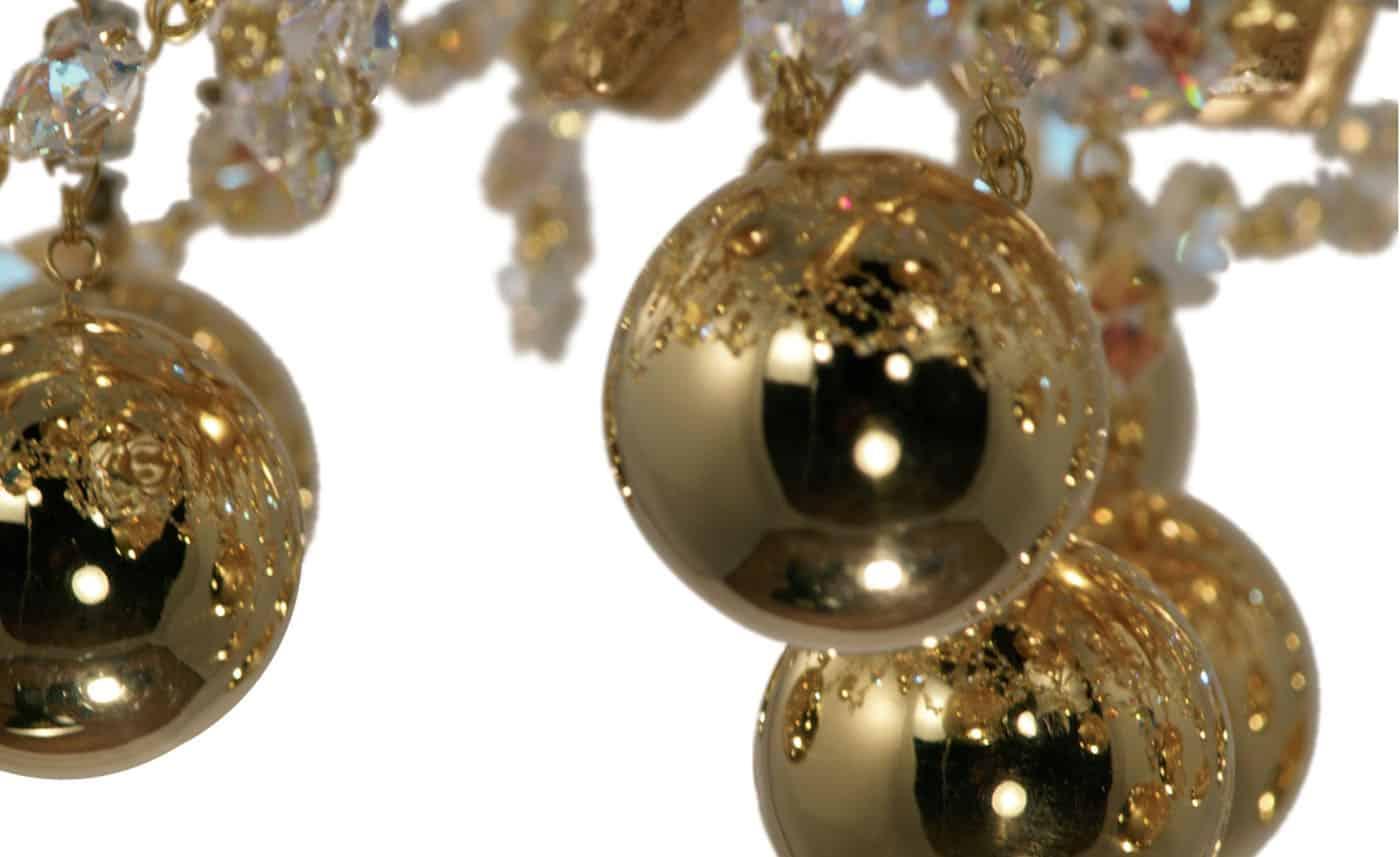 Lampadari foglia oro, lampade di lusso e chandelier in oro in edizione limitata Pataviumart.